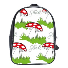 Mushroom Luck Fly Agaric Lucky Guy School Bags(large)  by Nexatart