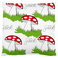 Mushroom Luck Fly Agaric Lucky Guy Large Cushion Case (two Sides) by Nexatart