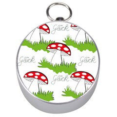 Mushroom Luck Fly Agaric Lucky Guy Silver Compasses by Nexatart