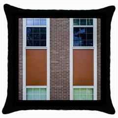 Pattern Symmetry Line Windows Throw Pillow Case (black) by Nexatart