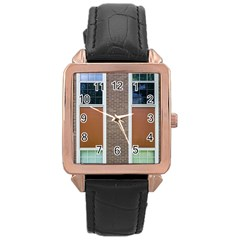 Pattern Symmetry Line Windows Rose Gold Leather Watch