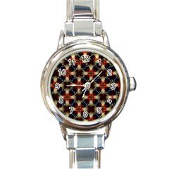 Kaleidoscope Image Background Round Italian Charm Watch by Nexatart