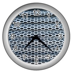 Texture Pattern Metal Wall Clocks (silver)  by Nexatart