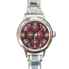 Abstract Circle Gem Pattern Round Italian Charm Watch