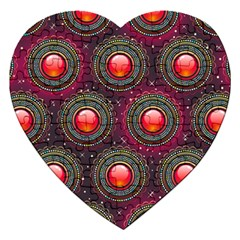 Abstract Circle Gem Pattern Jigsaw Puzzle (heart)