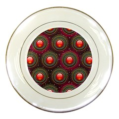 Abstract Circle Gem Pattern Porcelain Plates by Nexatart