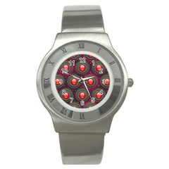 Abstract Circle Gem Pattern Stainless Steel Watch