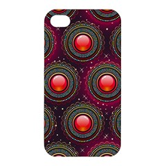 Abstract Circle Gem Pattern Apple Iphone 4/4s Premium Hardshell Case