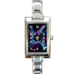 Abstract Art Color Design Lines Rectangle Italian Charm Watch by Nexatart