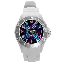 Abstract Art Color Design Lines Round Plastic Sport Watch (l) by Nexatart