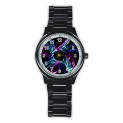 Abstract Art Color Design Lines Stainless Steel Round Watch