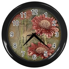Flowers Plant Red Drawing Art Wall Clocks (black) by Nexatart
