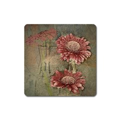 Flowers Plant Red Drawing Art Square Magnet