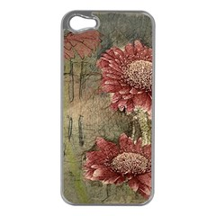 Flowers Plant Red Drawing Art Apple Iphone 5 Case (silver)