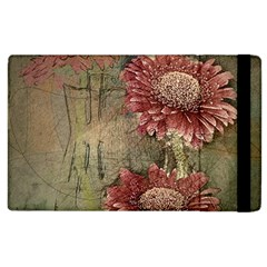 Flowers Plant Red Drawing Art Apple Ipad 2 Flip Case by Nexatart