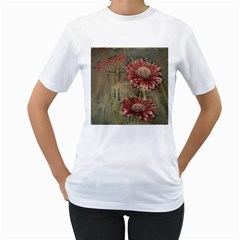 Flowers Plant Red Drawing Art Women s T Shirt (white)