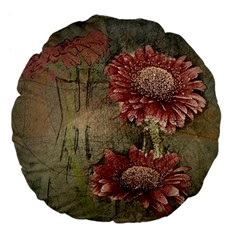 Flowers Plant Red Drawing Art Large 18  Premium Flano Round Cushions by Nexatart