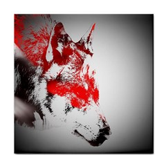 Red Black Wolf Stamp Background Tile Coasters by Nexatart