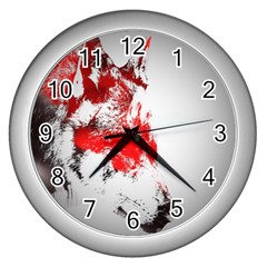 Red Black Wolf Stamp Background Wall Clocks (silver)  by Nexatart