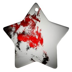 Red Black Wolf Stamp Background Star Ornament (two Sides) by Nexatart