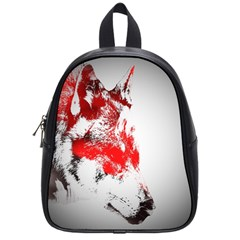 Red Black Wolf Stamp Background School Bags (small)  by Nexatart