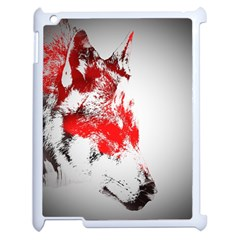 Red Black Wolf Stamp Background Apple Ipad 2 Case (white) by Nexatart