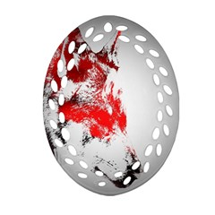 Red Black Wolf Stamp Background Oval Filigree Ornament (two Sides) by Nexatart