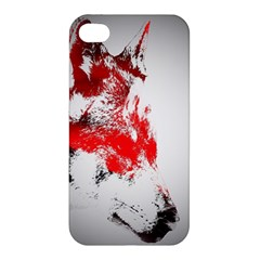 Red Black Wolf Stamp Background Apple Iphone 4/4s Hardshell Case by Nexatart