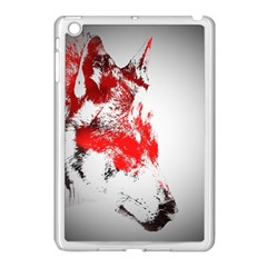 Red Black Wolf Stamp Background Apple Ipad Mini Case (white)