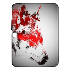 Red Black Wolf Stamp Background Samsung Galaxy Tab 3 (10 1 ) P5200 Hardshell Case
