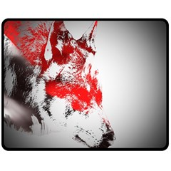 Red Black Wolf Stamp Background Double Sided Fleece Blanket (medium)