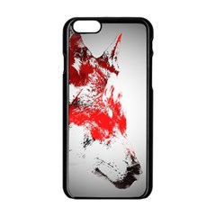 Red Black Wolf Stamp Background Apple Iphone 6/6s Black Enamel Case