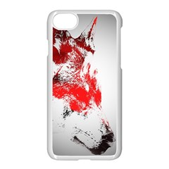 Red Black Wolf Stamp Background Apple Iphone 7 Seamless Case (white) by Nexatart