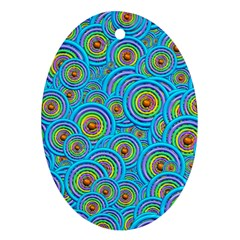 Digital Art Circle About Colorful Oval Ornament (two Sides)