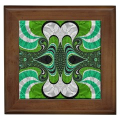 Fractal Art Green Pattern Design Framed Tiles by Nexatart