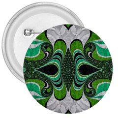 Fractal Art Green Pattern Design 3  Buttons by Nexatart