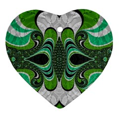 Fractal Art Green Pattern Design Ornament (heart)