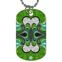 Fractal Art Green Pattern Design Dog Tag (two Sides) by Nexatart