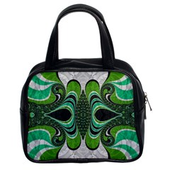 Fractal Art Green Pattern Design Classic Handbags (2 Sides) by Nexatart
