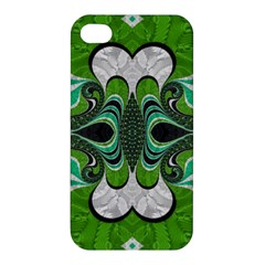 Fractal Art Green Pattern Design Apple Iphone 4/4s Hardshell Case by Nexatart
