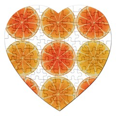 Orange Discs Orange Slices Fruit Jigsaw Puzzle (heart) by Nexatart