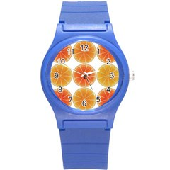 Orange Discs Orange Slices Fruit Round Plastic Sport Watch (s)