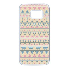 Blue And Pink Tribal Pattern Samsung Galaxy S7 White Seamless Case