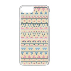 Blue And Pink Tribal Pattern Apple Iphone 7 Plus White Seamless Case