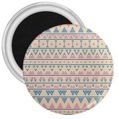 Blue And Pink Tribal Pattern 3  Magnets