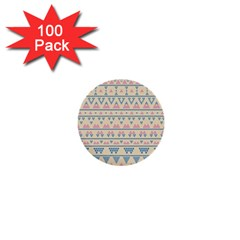 Blue And Pink Tribal Pattern 1  Mini Buttons (100 Pack)