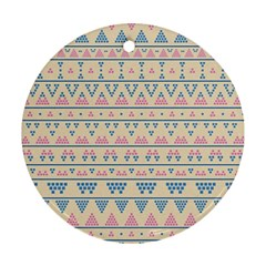 Blue And Pink Tribal Pattern Round Ornament (two Sides) by berwies