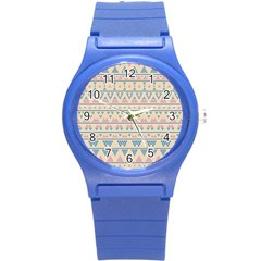 Blue And Pink Tribal Pattern Round Plastic Sport Watch (s)