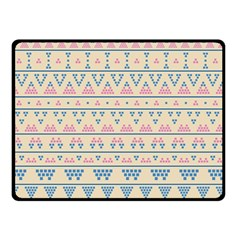 Blue And Pink Tribal Pattern Double Sided Fleece Blanket (small)  by berwies