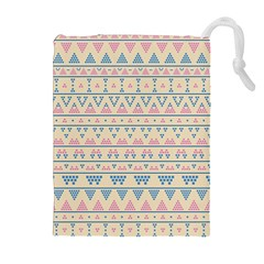 Blue And Pink Tribal Pattern Drawstring Pouches (extra Large) by berwies
